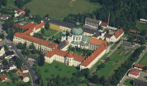Aerial photograph of Ettal Abbey