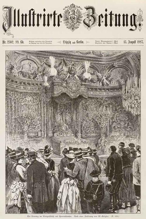 """Illustrite Zeitung vom 13. August 1887: """"Ein Sonntag im Königschlosse Herrenchiemsee"""""""