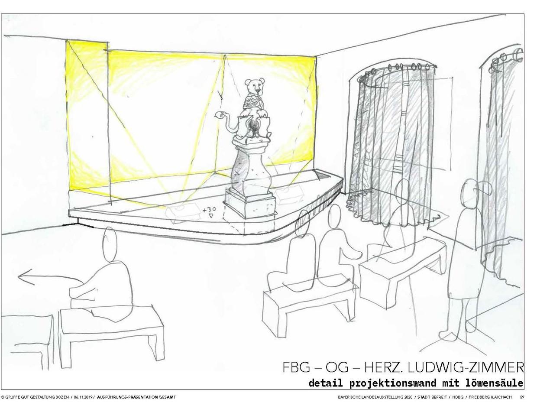 Das Herzog-Ludwig-Zimmer mit dem Brunnenlöwen. © Gruppe Gut Gestaltung Bozen