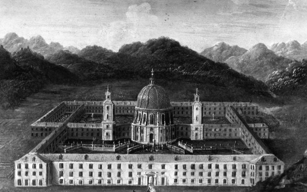 Idealized view of Ettal Abbey, oil painting, pre-1744, Ettal Abbey