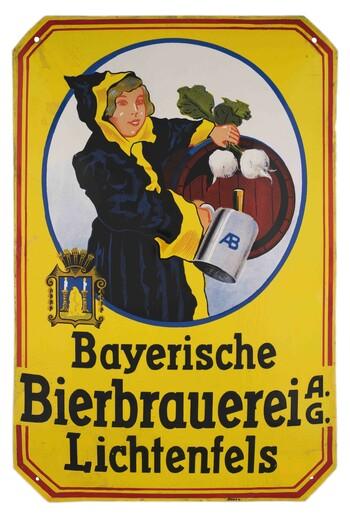 Reklameschild der Bayerischen Bierbrauerei AG, Lichtenfels (Ofr.), um 1920 © Haus der Bayerischen Geschichte, Augsburg | Foto: Maximilian Brückner, Regensburg