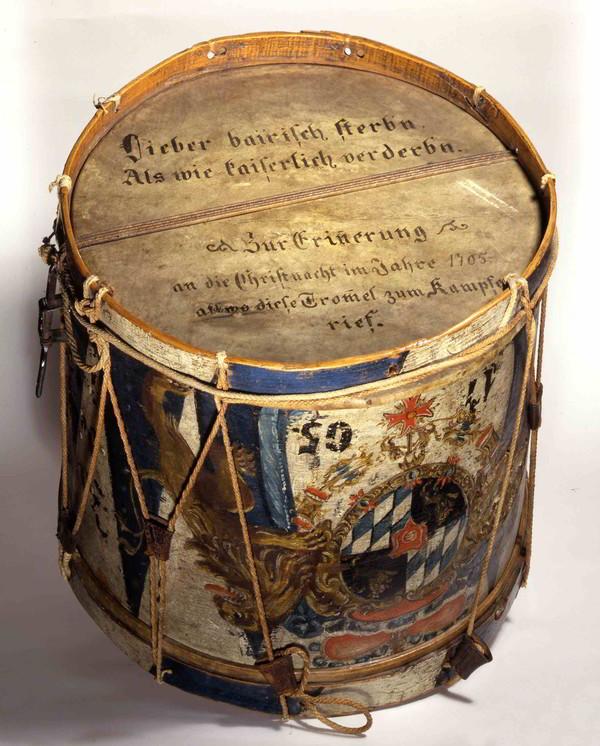 Gotzinger Trommel aus der Sendlinger Mordweihnacht, um 1700, Heimatmuseum Miesbach ©Haus der Bayerischen Geschichte, Augsburg | Foto: Günther Freiherr Voith von Voithenberg