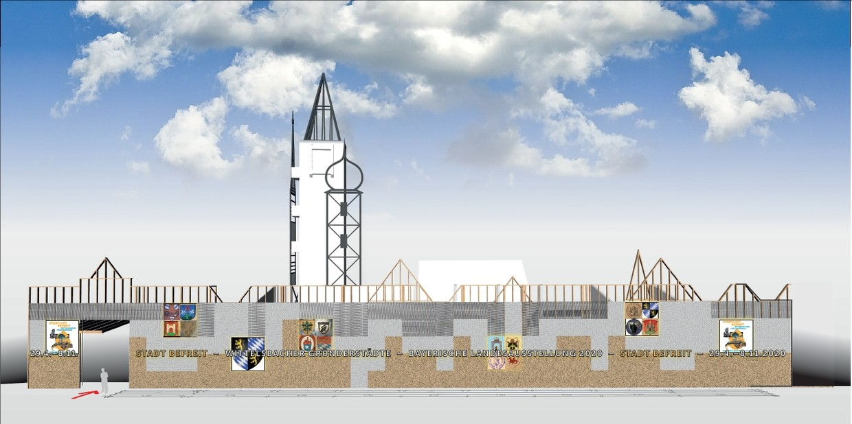 Wie das FeuerHaus Aichach für die Bayerische Landesausstellung 2020 aussehen wird.  © Gruppe Gut Gestaltung, Bozen