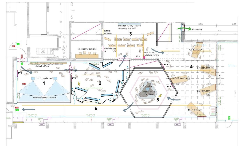 Gesamtgrundriss des Ausstellungsrundgangs im FeuerHaus in Aichach. © Gruppe Gut Gestaltung Bozen
