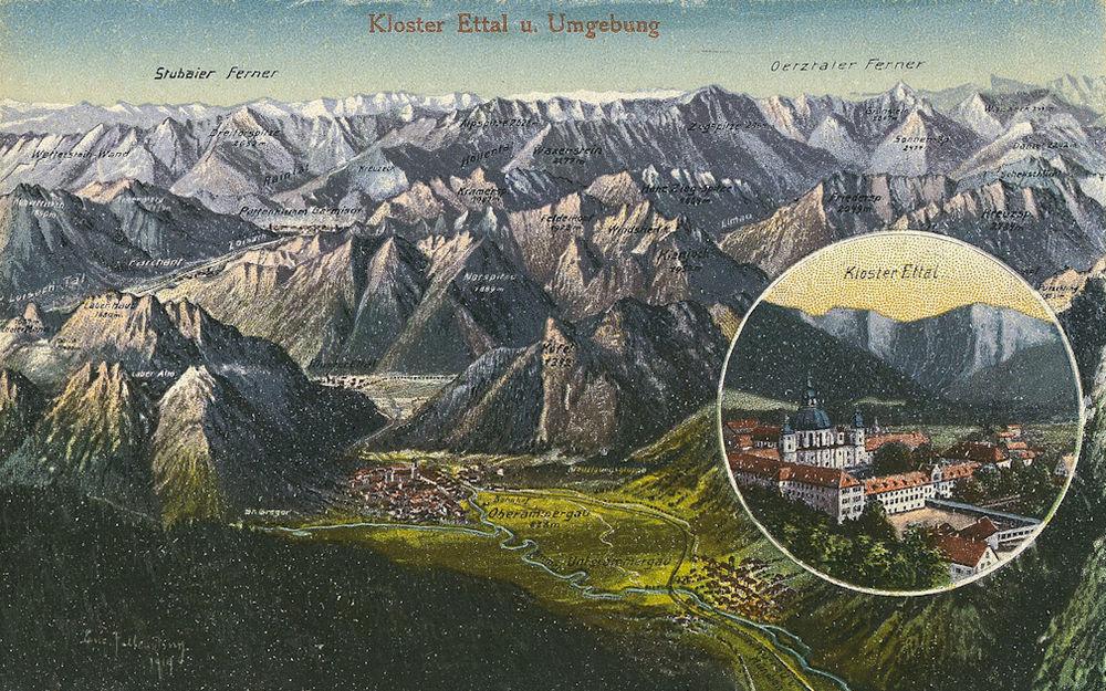 Kloster Ettal und Umgebung, Postkarte von Eugen Felle, 1919