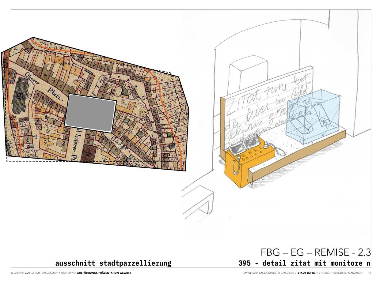 Ausstellungsdetail zur Stadtparzellierung. © Gruppe Gut Gestaltung Bozen