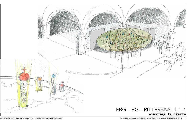 Am Beginn der Bayerischen Landesausstellung im sogenannten Rittersaal. © Gruppe Gut Gestaltung Bozen