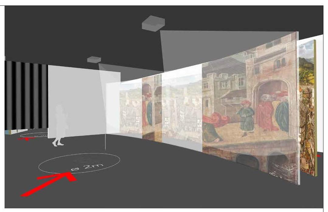 """Erste Ausstellungssequenz: der Film """"Von der Burg zur Stadt"""". © Gruppe Gut Gestaltung Bozen"""