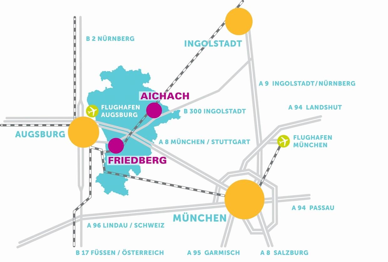 """Anfahrt Bayerische Landesausstellung """"Stadt befreit. Wittelsbacher Gründerstädte"""". Gestaltung: Büro Vor-Zeichen, München."""
