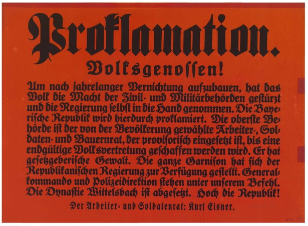 Proklamation der Bayerischen Republik und der Absetzung der Wittelsbacher, 07./08.11.1918  © Haus der Bayerischen Geschichte