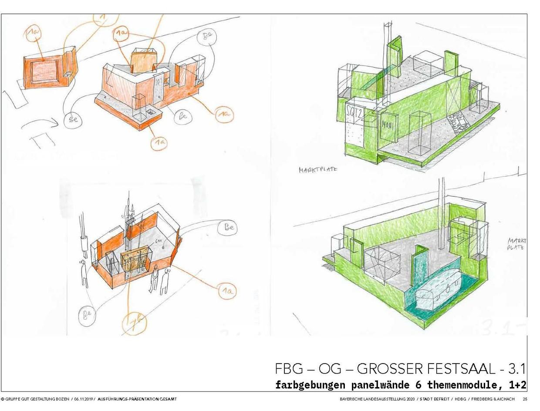 Beispiele zur Farbgebung in dritten Ausstellungsabteilung. © Gruppe Gut Gestaltung Bozen
