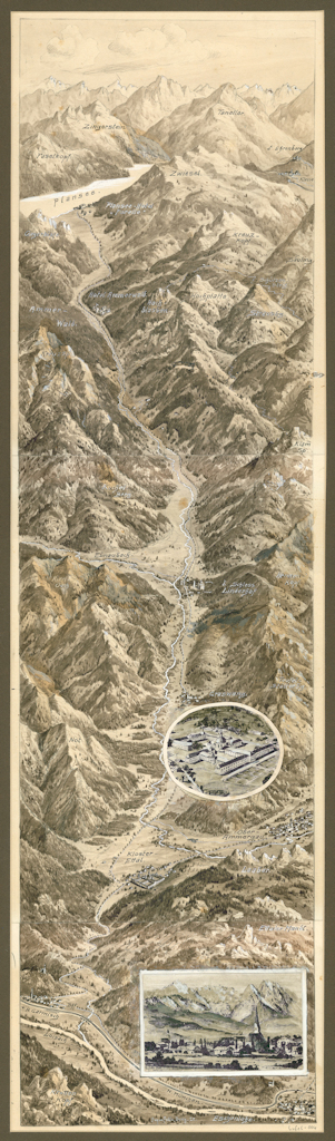 From Loisach Valley to Plansee in Tyrol, drawing by Eugen Felle, 1925