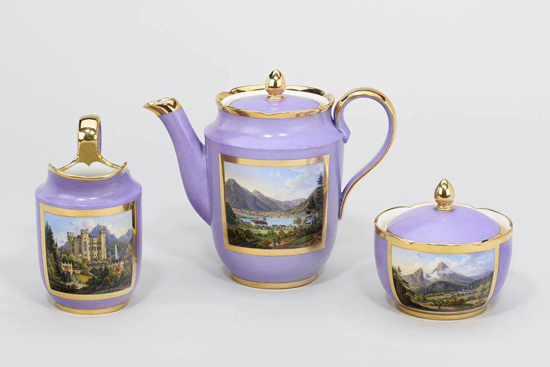 Kaffeeservice mit Ansichten von Oberbayern, 1847/50, Porzellanmanufaktur Nymphenburg