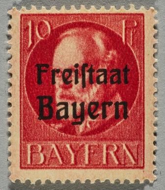 """Briefmarken mit Überstempelung """"Freistaat Bayern"""""""
