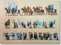 Gustav Wihelm Kraus: Festzug zur Feyer der Jubel ehe I.I.M.M. des Königs Ludwig und der Königin Therese zu München am 4ten October 1835 24 Bl. Kolorierte Lithografien