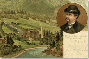 König Ludwig II. und Schloss Linderhof, Postkarte, um 1900 (Digitalbild: Haus der Bayerischen Geschichte, Augsburg)
